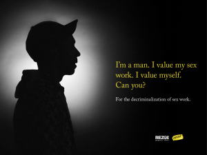 "Silhouette of a sex worker and the words ""I'm a man. I value my sex work. I value myself. Can you?"""