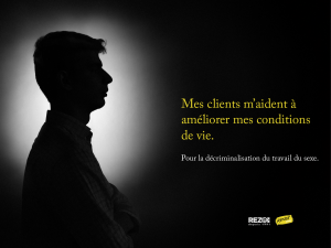 "Silhouette of a sex worker and the words ""Mes clients m'aident à améliorer mes conditions de vie."""