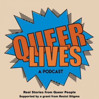 Queer Lives logo on a stylized blue background